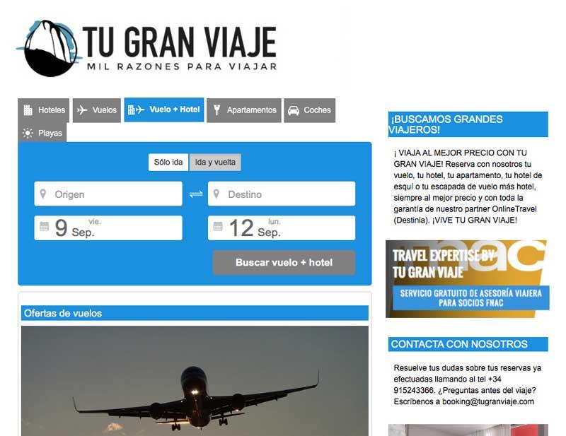 Booking Tu Gran Viaje, el site B2C de TGV LAb by Tu Gran Viaje