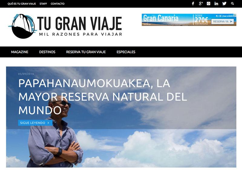 TuGranViaje.com, web de viajes y turismo editada por TGV LAB by Tu Gran Viaje